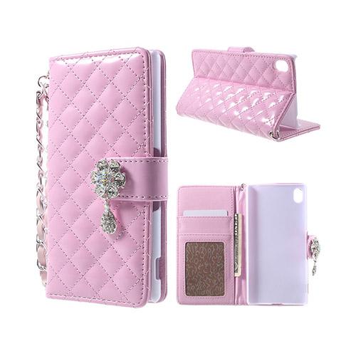 Strass Plånbok (Rosa) Sony Xperia Z3+ Läder Fodral med Korthållare