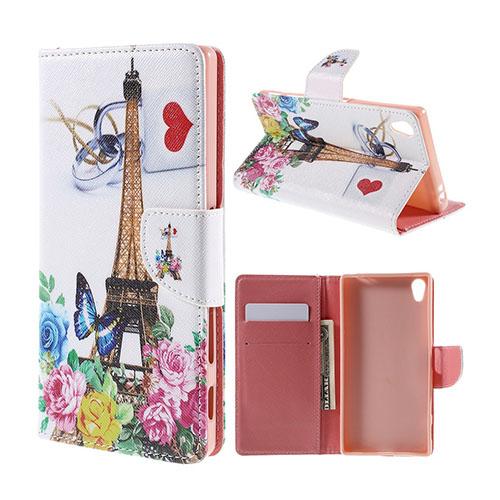 Moberg Sony Xperia Z5 Premium Läderfodral med Stativ – Eiffeltornet & Blommor i Paris