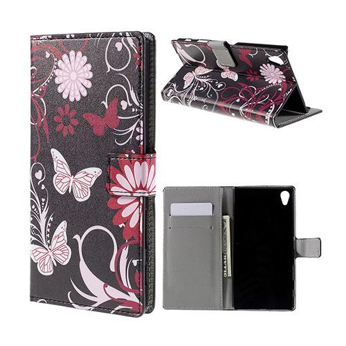 Moberg Sony Xperia Z5 Premium Läderfodral med Stativ och Korthållare – Fjärilar och Blommor
