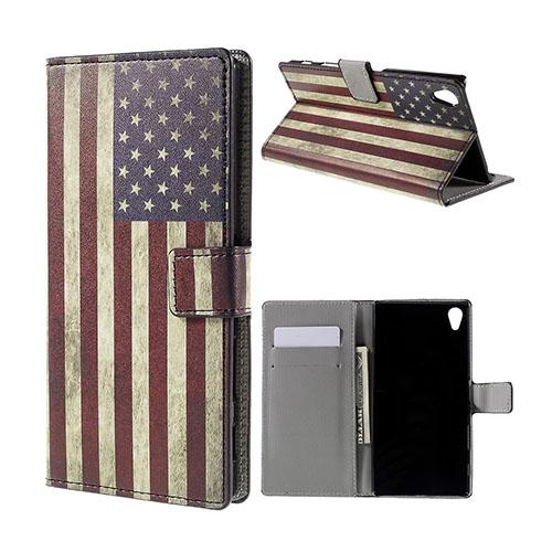 Moberg Sony Xperia Z5 Premium Läderfodral med Stativ och Korthållare – Vintage USA Flagga
