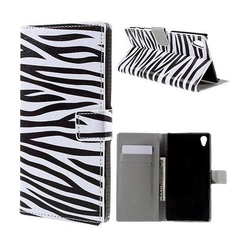 Moberg Sony Xperia Z5 Premium Läderfodral med Stativ och Korthållare – Zebra Ränder