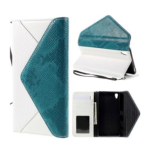 Kuvert Sony Xperia Z5 Premium Läderfodral med Stativ och Korthållare – Vit / Blå