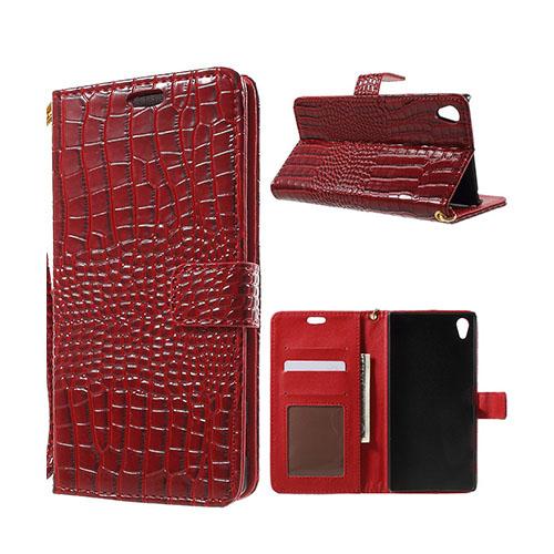Marx Plånbok Sony Xperia Z5 Premium Krokodil Läderfodral med Stativ – Röd