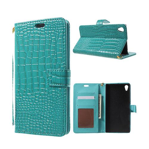 Marx Plånbok Sony Xperia Z5 Premium Krokodil Läderfodral med Stativ – Blå