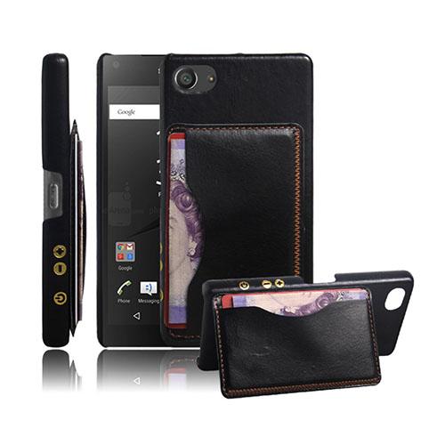 Retro Sony Xperia Z5 Compact Läderskal med Korthållare – Svart