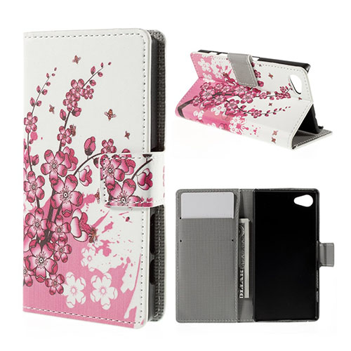 Moberg Sony Xperia Z5 Compact Läder Fodral – Rosa Blommor