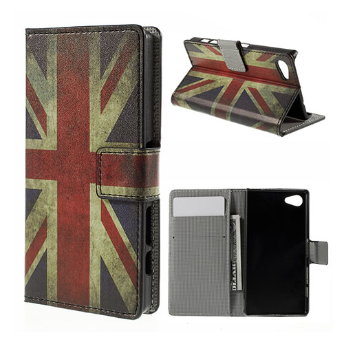 Moberg Sony Xperia Z5 Compact Läder Fodral – Vintage UK Flagga