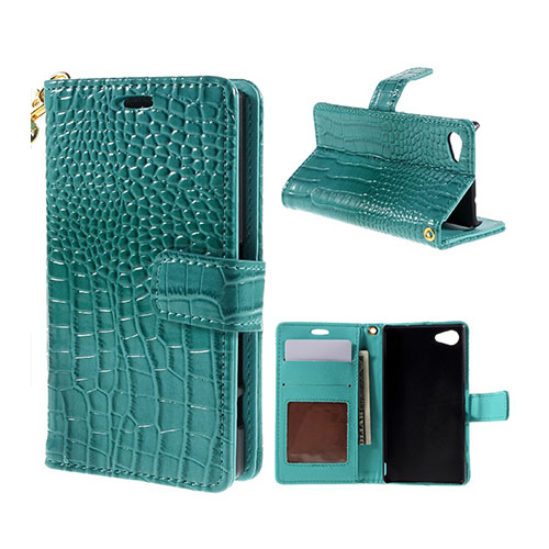 Marx Wallet Sony Xperia Z5 Compact Läderfodral av Krokodil Skinn med Stativ och Korthållare – Blå