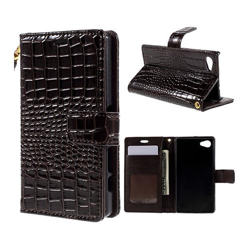 Marx Wallet Sony Xperia Z5 Compact Läderfodral av Krokodil Skinn med Stativ och Korthållare – Kaffe