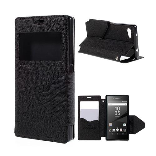 Roar Korea Sony Xperia Z5 Compact Läderfodral med Korthållare – Svart