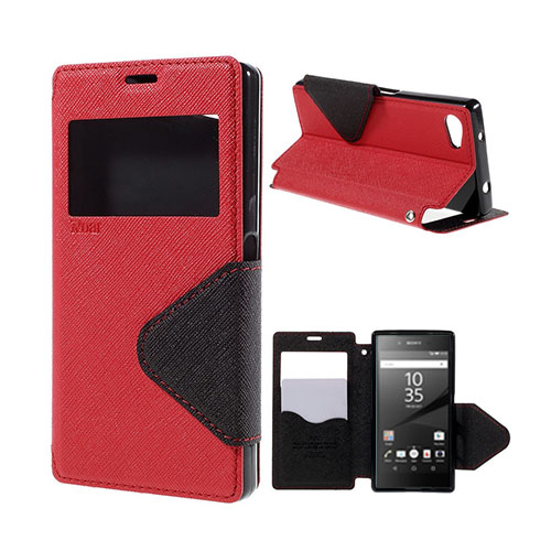 Roar Korea Sony Xperia Z5 Compact Läderfodral med Korthållare – Röd