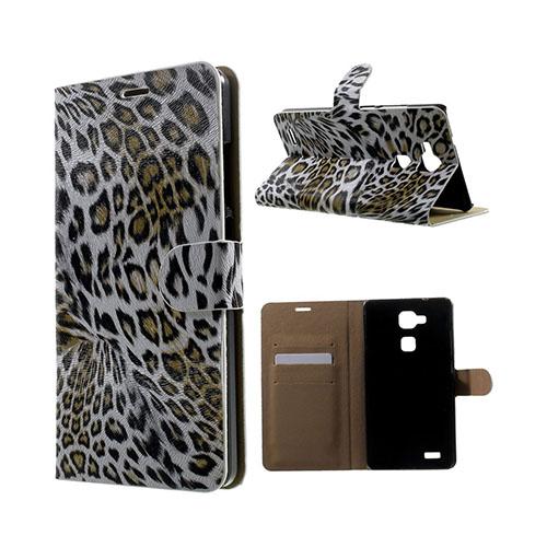 Wildlife Huawei Ascend Mate7 Läder Flip Fodral – Vit Leopard
