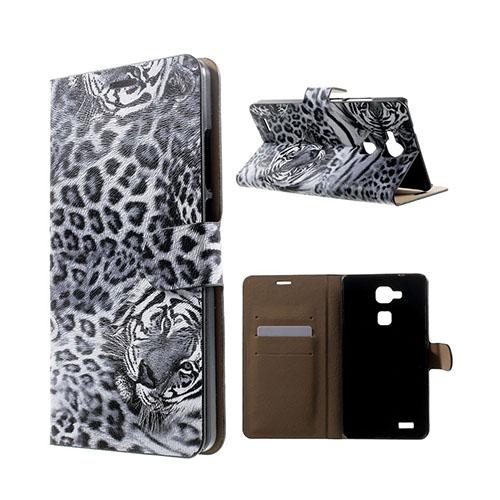 Wildlife Huawei Ascend Mate7 Läder Flip Fodral – Grå Leopard Huvud