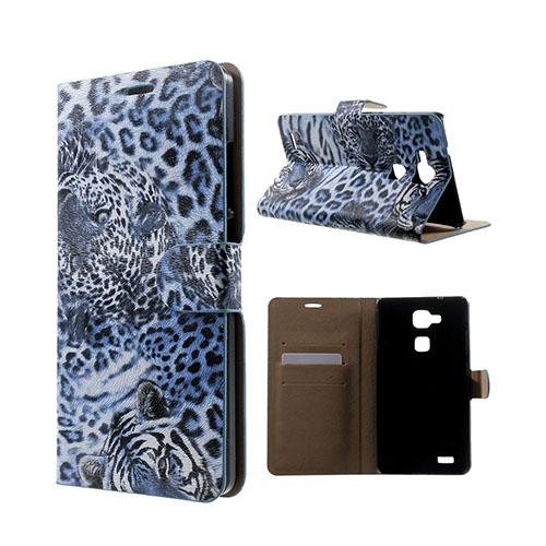 Wildlife Huawei Ascend Mate7 Läder Flip Fodral – Blå Leopard Huvud
