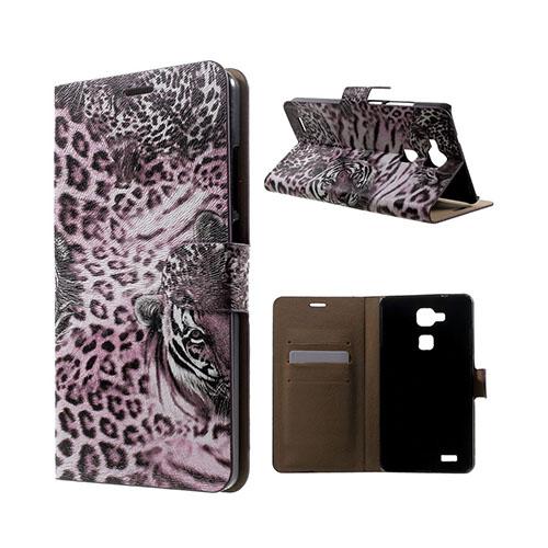 Wildlife Huawei Ascend Mate7 Läder Flip Fodral – Lila Leopard Huvud