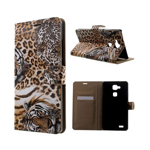 Wildlife Huawei Ascend Mate7 Läder Flip Fodral – Brunt Leopard Huvud