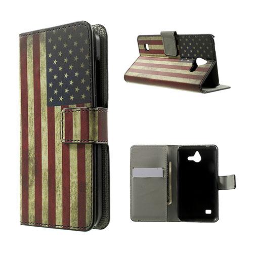 Moberg Huawei Ascend Y550 Läder Flip Fodral – Vintage USA Flagga