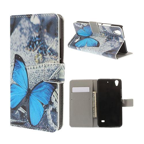 Moberg Huawei Ascend G620s Läder Flip Fodral – Blå Fjäril
