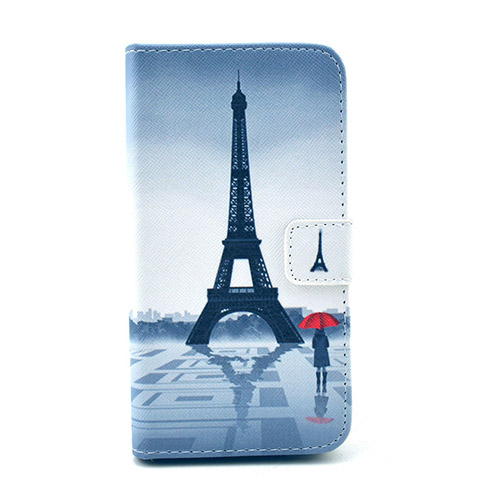 Moberg Huawei Ascend G620 Läder Flip Fodral – Eiffel Tornet och Flicka