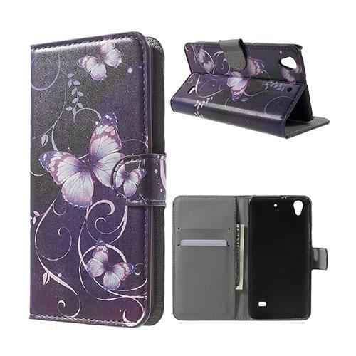 Moberg Huawei Ascend G620S Läderfodral med Plånbok – Lila Fjärilar