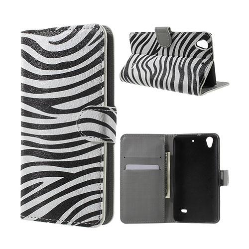 Moberg Huawei Ascend G620S Läderfodral med Plånbok – Zebra Ränder