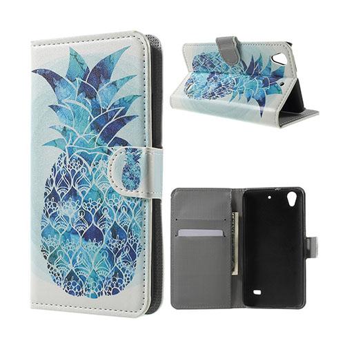 Moberg Huawei Ascend G620S Läderfodral med Plånbok – Blå Ananas