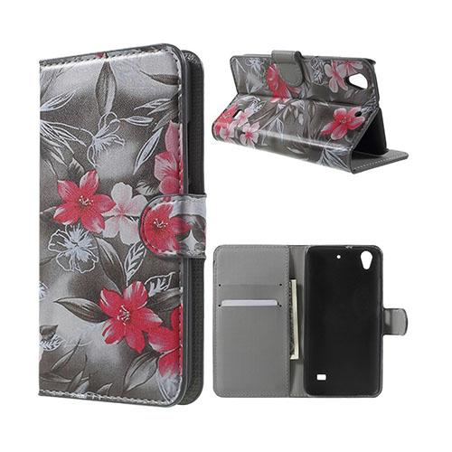 Moberg Huawei Ascend G620S Läderfodral med Plånbok – Röda Blommor