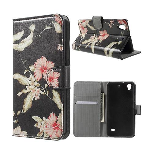 Moberg Huawei Ascend G620S Läderfodral med Plånbok – Vackra Blommor
