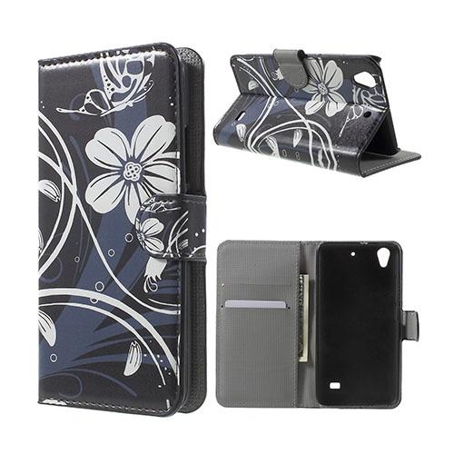 Moberg Huawei Ascend G620S Läderfodral med Plånbok – Blommande Blommor