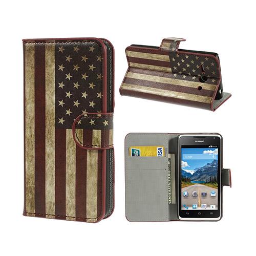 Moberg Huawei Ascend Y530 Läder Flip Fodral – Vintage USA Flagga