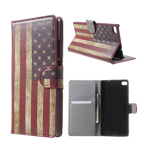 Moberg Huawei Ascend P8 Fodral med Plånbok – Vintage USA Flagga