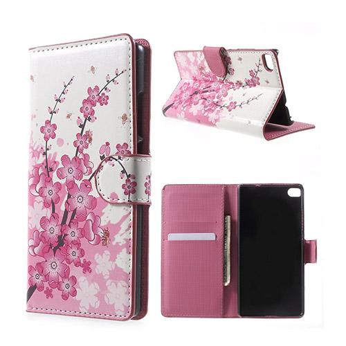 Moberg Huawei Ascend P8 Fodral med Plånbok – Plommon Blommar
