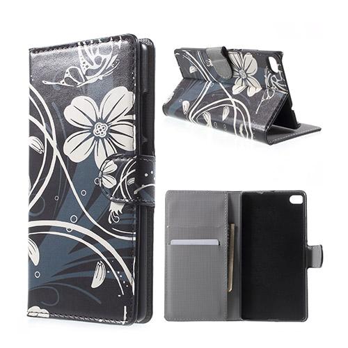 Moberg Huawei Ascend P8 Fodral med Plånbok – Vackra Vit Blommor