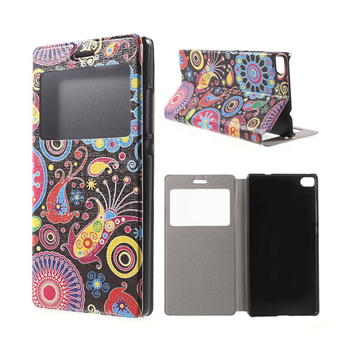 Moberg View Huawei Ascend P8 Flip Fodral – Paisley Blommor