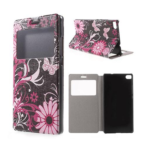 Moberg View Huawei Ascend P8 Flip Fodral – Rosa Fjärilar & Blommor