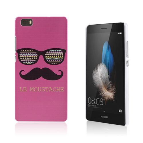 Christensen Mönster Huawei Ascend P8 Lite Skal – Solglasögon & Mustasch på en Rosa Bakgrund