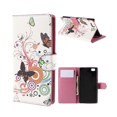 Moberg Huawei P8 Lite Fodral med Plånbok – Fjärilar & Cirklar
