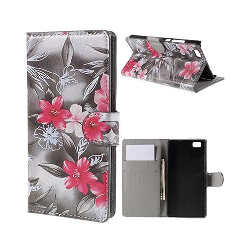 Moberg Huawei P8 Lite Fodral med Plånbok – Röd Blomma