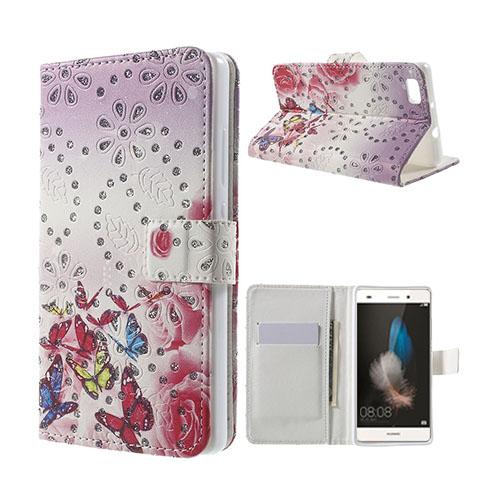 Moberg Rhinestone Huawei Ascend P8 Lite Fodral – Fjärilar och Blommor