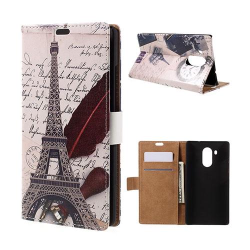 Moberg Huawei Mate 8 Läderfodral med Stativ – Eiffeltornet och Fjäderpenna