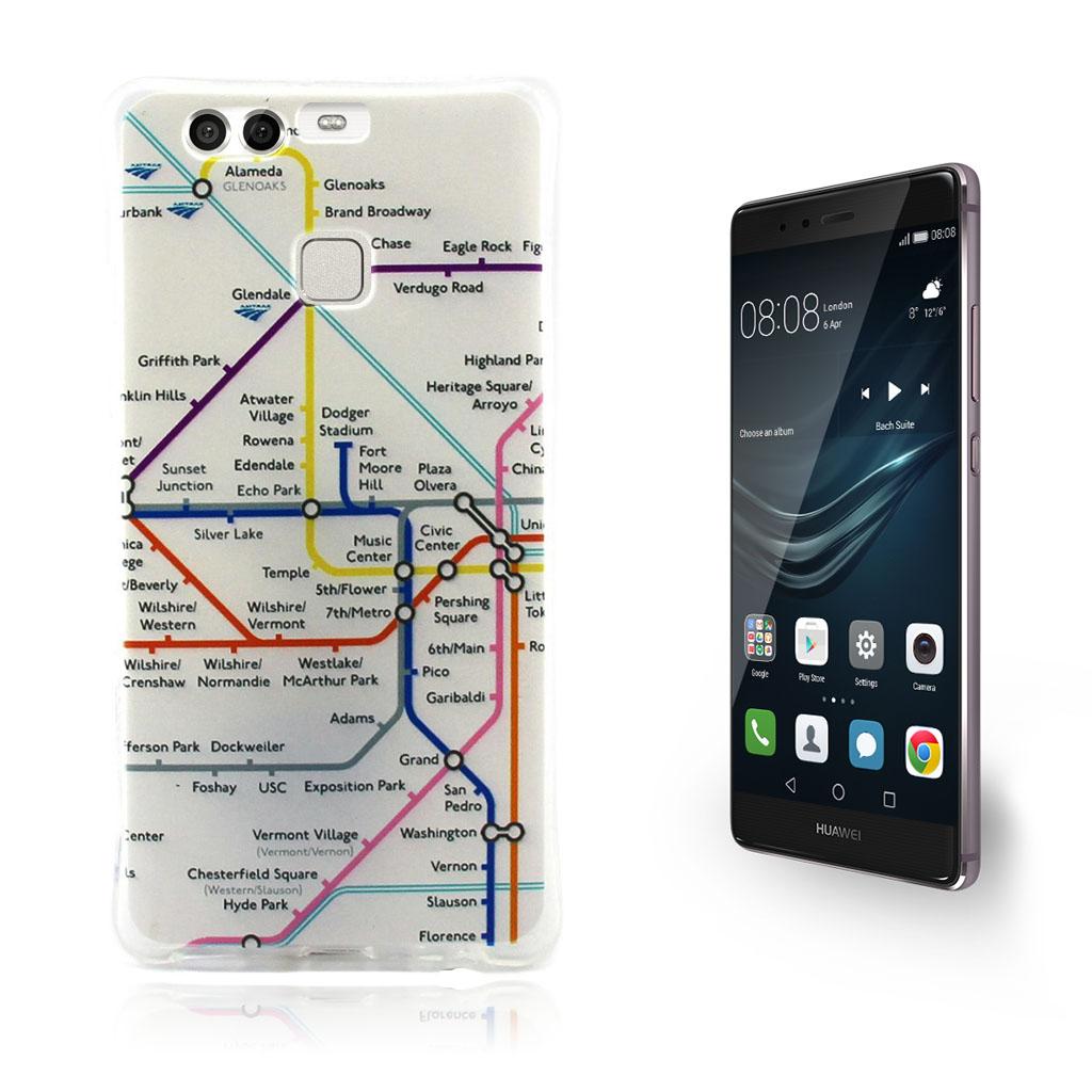 Image of   Person TPU-skal med Mönster för Huawei P9 - Tågkarta
