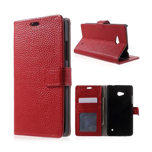 Cowhide Microsoft Lumia 640 ÄKTA Läderfodral med Plånbok – Röd