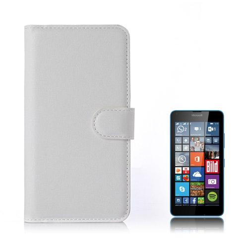 Moen Microsoft Lumia 640 Läder Fodral med Korthållare – Vit
