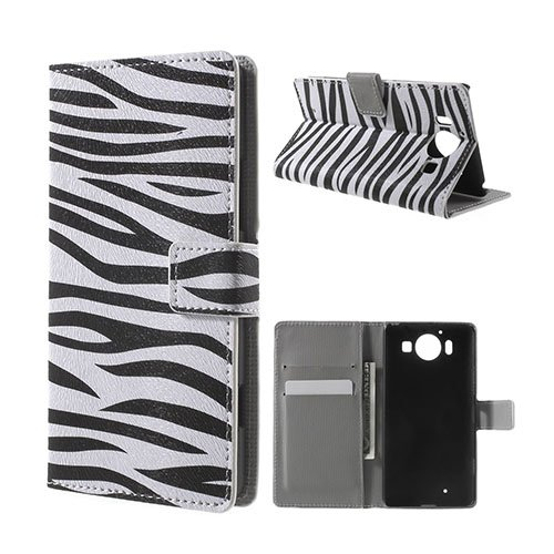 Mobergmicrosoft Lumia 950 Läder Fodral – Zebra Ränder