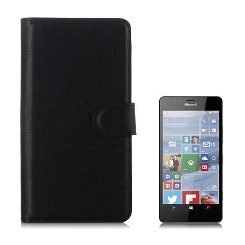 Jensen Microsoft Lumia 950 Läderfodral med Stativ – Svart