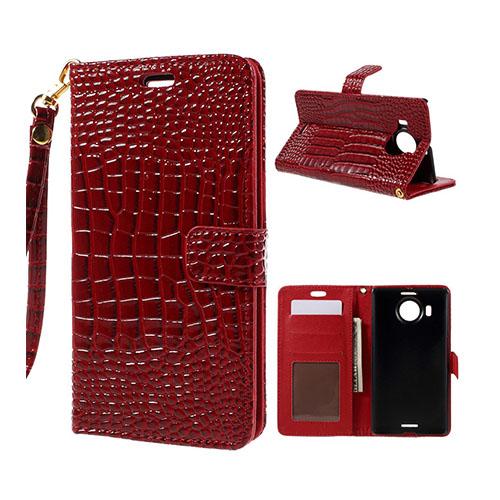 Marx Plånbok Microsoft Lumia 950 XL Krokodil Läderfodral – Röd
