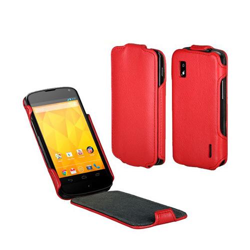 SoftCase (Röd) LG Google Nexus 4 Läderfodral