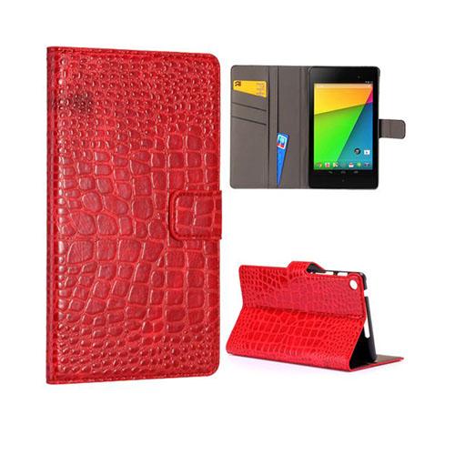 Croco (Röd) Google Nexus 7 (2013) Läderfodral