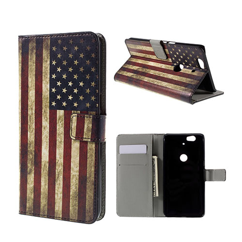Moberg Google Nexus 6P Fodral – Retro Amerikanska Flaggan