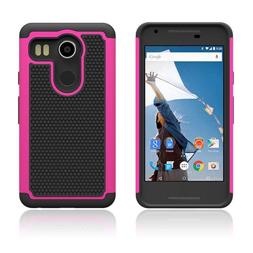Fotboll Fiber LG Nexus 5X Hybrid Skal – Varm Rosa